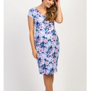 Blue Floral Fitted Maternity Wrap Dress